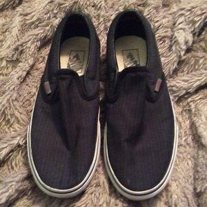 Vans dark navy pin stripe slip ones. Used.